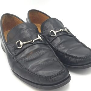 Cole Haan Black Leather Bridle Bit Loafers